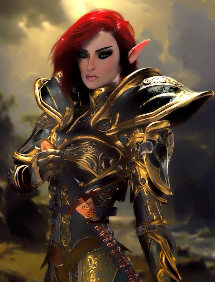 You see Squire Legionnaire Marcelina the Soldier. She appears to be a Vaalor Elf. She is taller than average. She appears to be youthful. She has sharply tapered absinthe green eyes and smoothly tanned skin. She has nape-length, mordant red hair tucked neatly behind her ears. She has well-defined, high cheekbones.