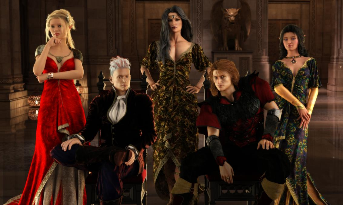 Second group portrait for the Elanthian Vogue. This one includes, left to right: Luxelle Machtes Ashrim, Rovvigen Aniket, Naamit DMVMD-Braggiani, Nehor, Lynaera Ariamiel